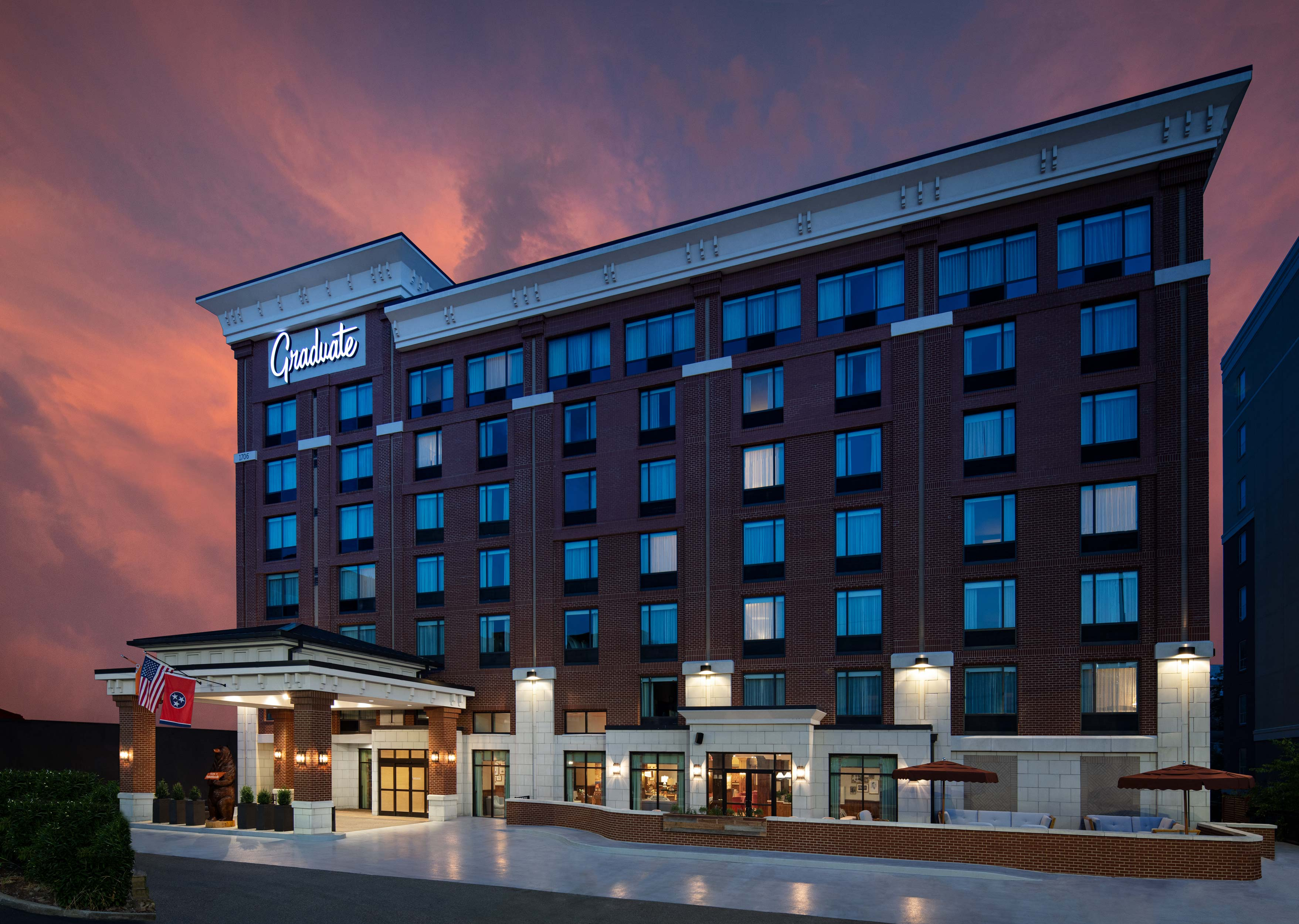 Exterior Dusk Photography of Graduate Hotel In Knoxville Tennessee with Pink Sky