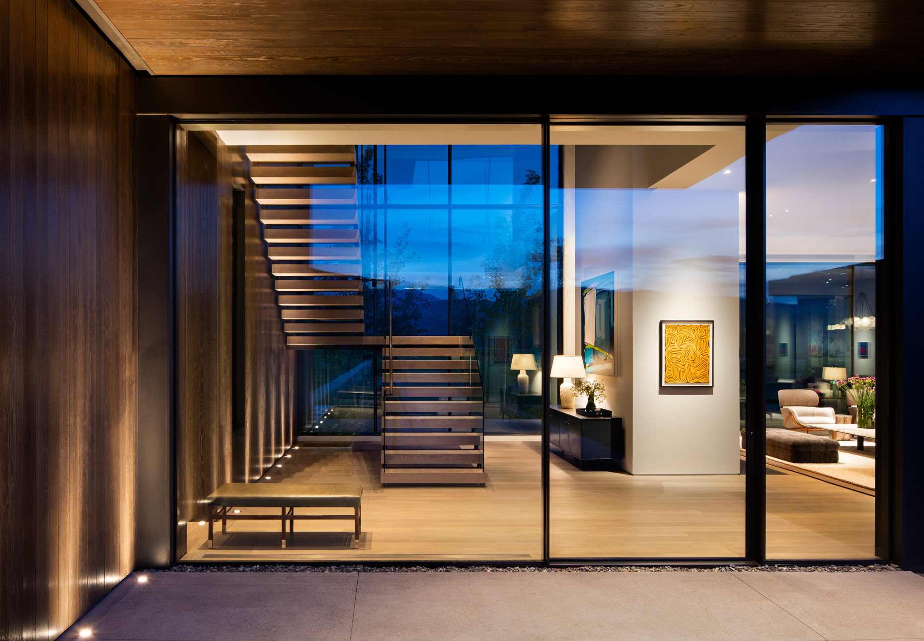 Modernist home at dusk in Aspen Colorado