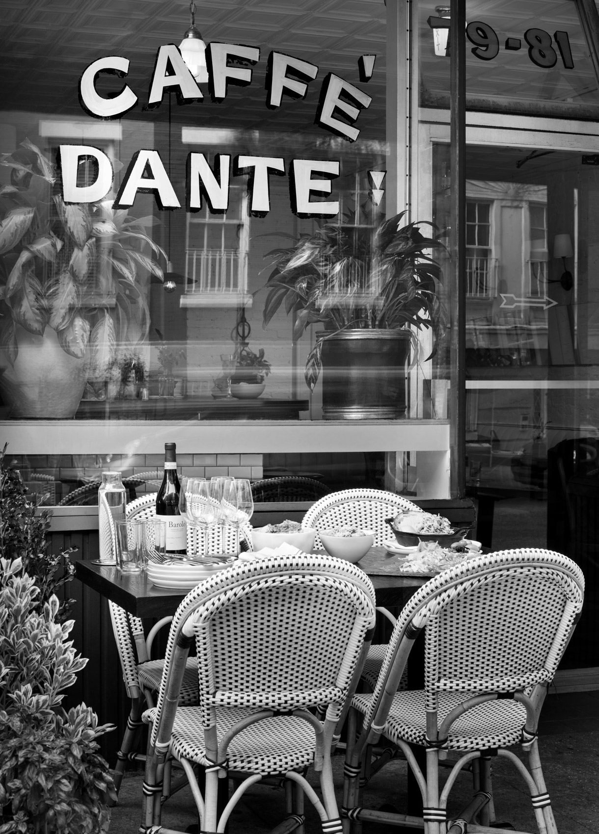 Black And White Photo of Dining Dante New York City
