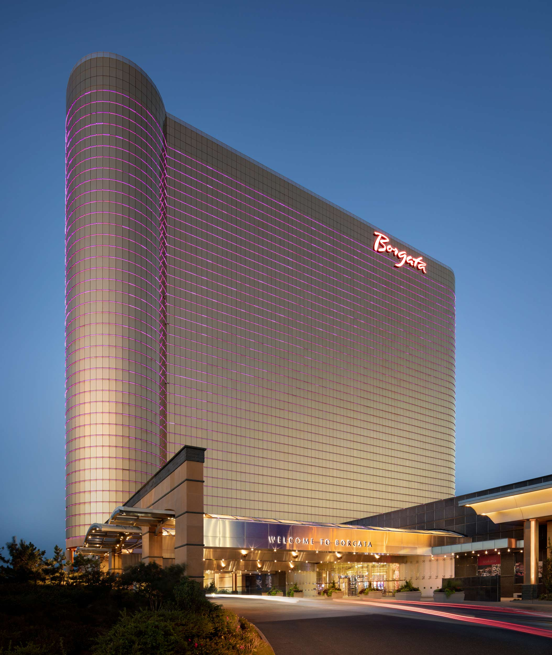 Dusk Photography of Exterior and Entry  Valet of Borgata Hotel Casino and Spa